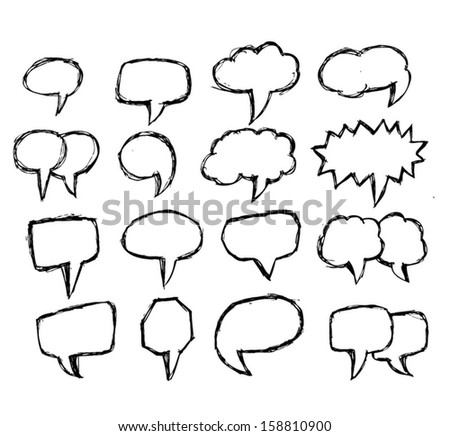 collection of hand drawn bubble speech