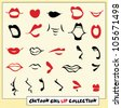Collection of hand drawn cartoon girl lips in different angles - stock vector