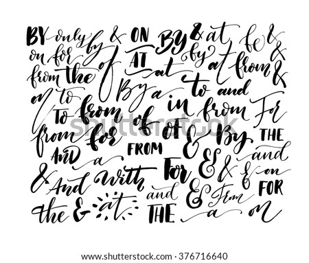 Collection of hand drawn catchwords. Hand lettered ampersand and catchwords. Handwritten calligraphy and lettering collection. Modern brush calligraphy. Ampersands and catchwords for your design. - stock vector