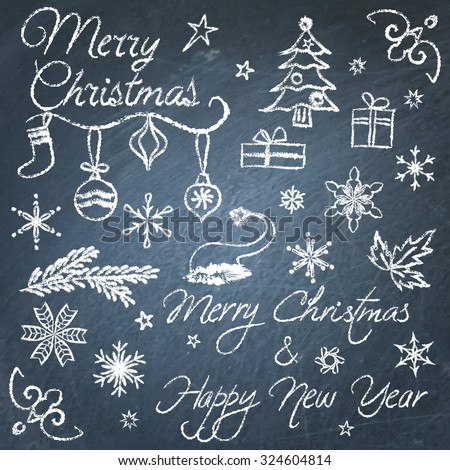 Collection of hand drawn Christmas chalkboard elements - stock vector