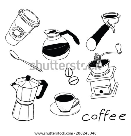 Collection of hand-drawn coffee set items - stock vector