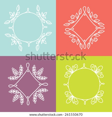 Collection of hand drawn contour floral frames on colorful background. Perfect for wedding invitations and greeting cards. Vector illustration - stock vector