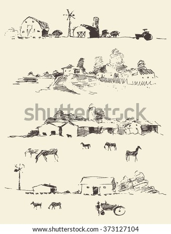 Collection of hand drawn countryside landscapes. Rural landscapes with fields and hills. Vector illustration, sketch - stock vector