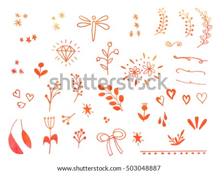Collection of hand drawn doodle design elements, watercolor texture isolated on white background. Set of autumn handdrawn borders, laurels, floral dividers, ribbon, leaf, diamond. Vector illustration.