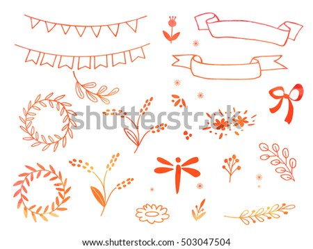 Collection of hand drawn doodle design elements with watercolor texture isolated on white background. Set of autumn handdrawn dragonfly, borders, laurel wreath, floral dividers, bunting flags. Vector.
