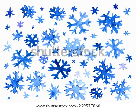 Collection of hand drawn doodle watercolor snowflakes. - stock vector