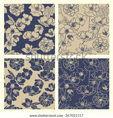 Collection of Hand-drawn floral wallpapers, 4 Seamless patterns. Elegant Classic Blue & deep Beige