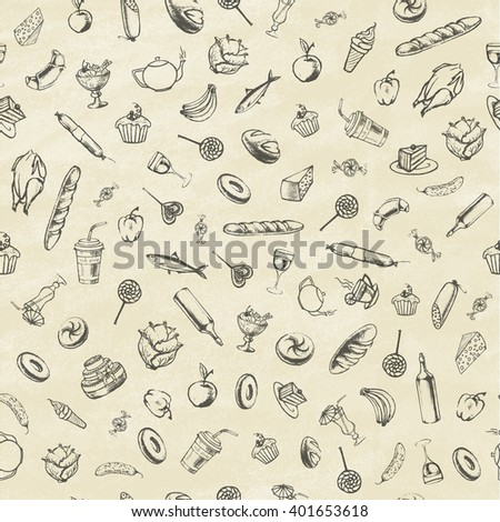 Collection of hand-drawn food. Retro vintage style food design. Seamless pattern. Vector illustration. - stock vector