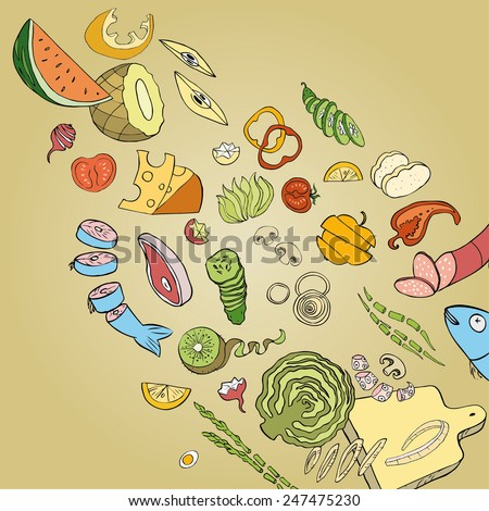 Collection of hand-drawn food. Vector illustration. - stock vector