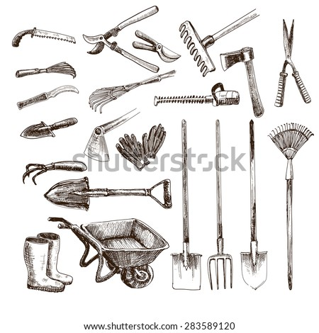 Set vintage barbershop emblems labels badges stock vector for Gardening tools drawing with names