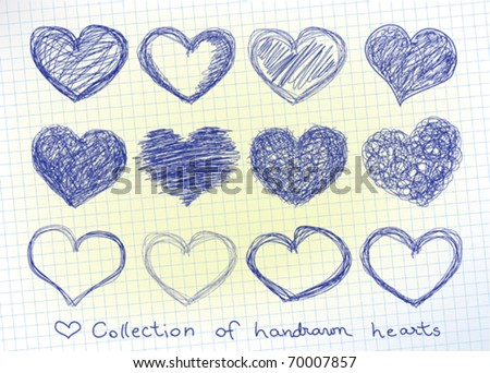 collection of hand-drawn hearts in a piece of paper
