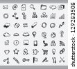 Collection of hand drawn icons representing a diversity of topics including communication, graphs, weather and business sketched in ink on white paper - stock photo