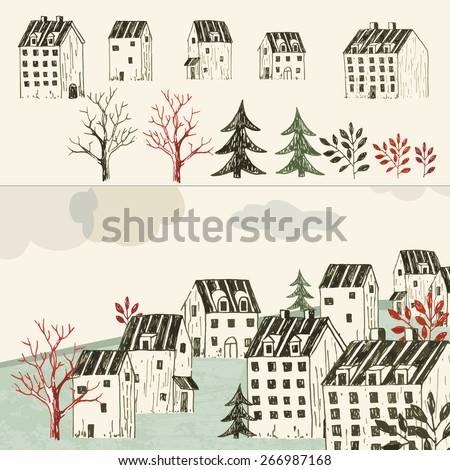 Collection of hand drawn isolated houses or buildings and village or town illustration