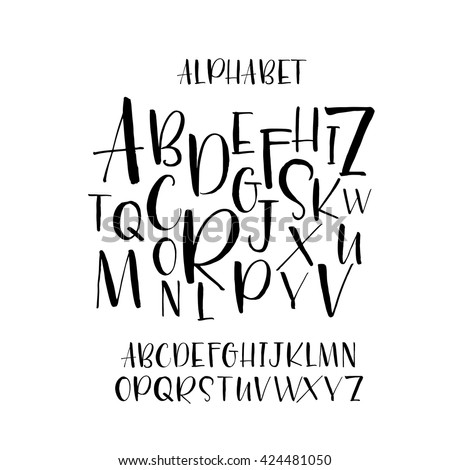 collection of hand drawn letters modern brush calligraphy hand drawn vector alphabet ink