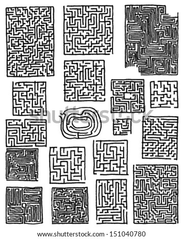 Collection of hand drawn mazes isolated on white background - stock vector