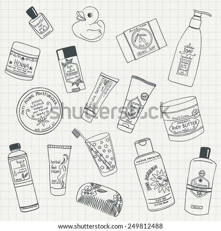 Collection of hand drawn organic beauty care products - stock vector