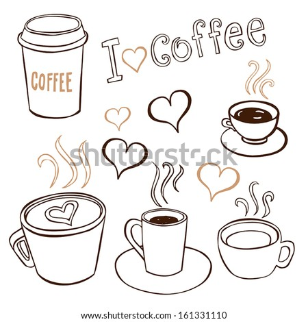 Collection of hand-drawn pictures of coffee cups. - stock vector