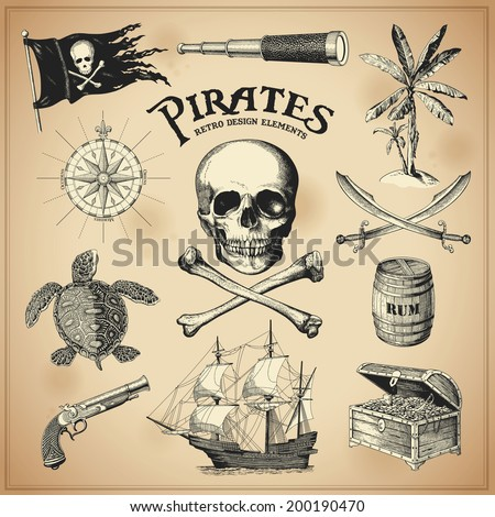 Collection of hand-drawn pirates design elements - stock vector