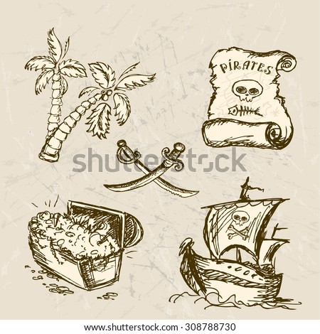 Collection of hand-drawn pirates design elements, vector