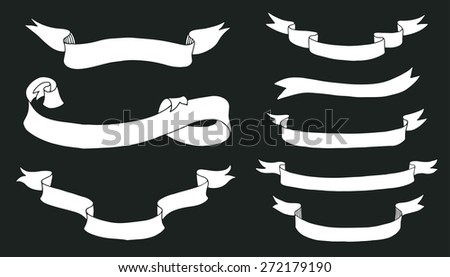 Collection of hand drawn ribbons on blackboard - stock vector