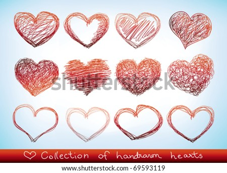 collection of hand-drawn sketch hearts - stock vector