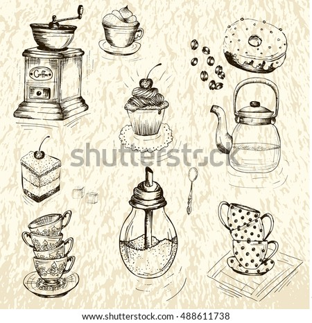 Collection of hand drawn sketches on the theme of tea and coffee. coffee grinder, cups , other utensils, spices and additives for tea and coffee.