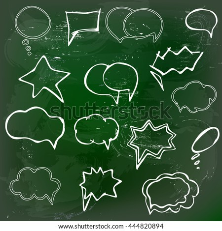 Collection of hand drawn speech balloons on green blackboard - stock vector