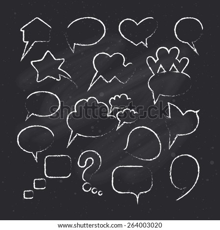 Collection of hand drawn speech bubbles on chalkboard background. Vector illustration.