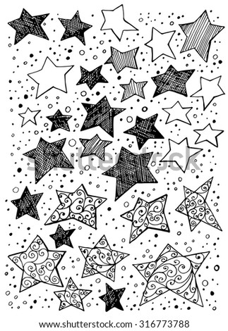 Collection of hand drawn stars on white background.