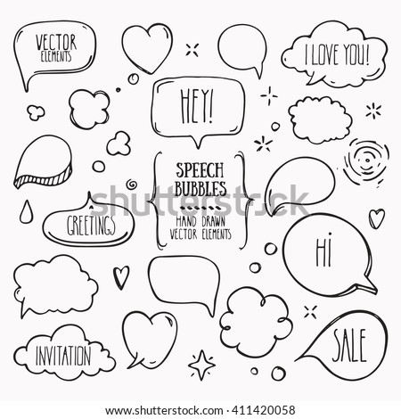 Collection of hand drawn think and talk speech bubbles with love message, greetings and sale ad. Doodle style comic balloon, cloud, heart shaped design elements. Isolated vector. - stock vector