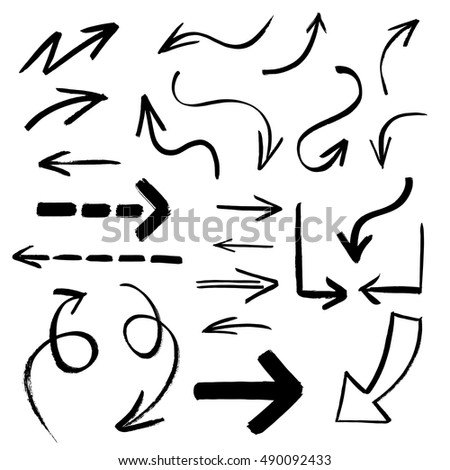 Collection of hand drawn vector arrows