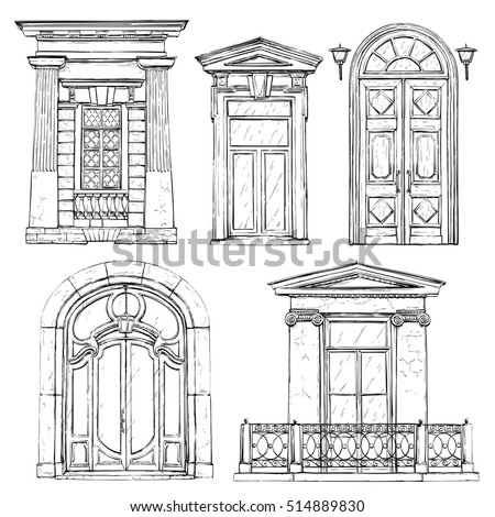 Collection Of Hand Drawn Vintage Doors Vector Illustration
