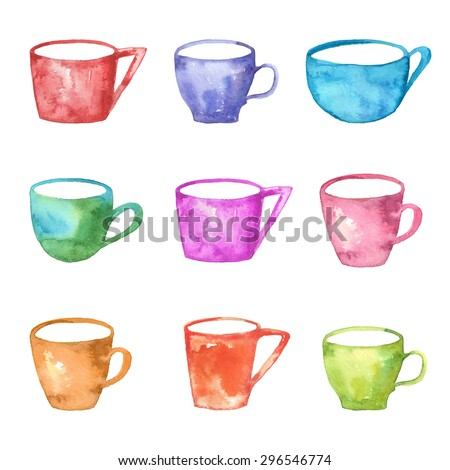 collection of hand drawn watercolor mugs - tea cups isolated on white background - vector illustration - stock vector