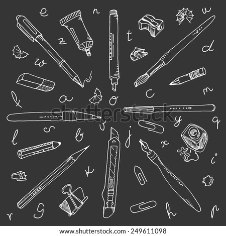 Collection of hand-drawn writing tools and elements, handwritten letters. White on the blackboard. - stock vector