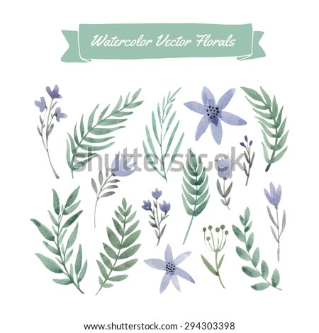 Collection of hand painted blue watercolor vector flowers and green leaves. Design element for summer wedding, spring congratulation card. Perfect floral elements for save the date card. - stock vector