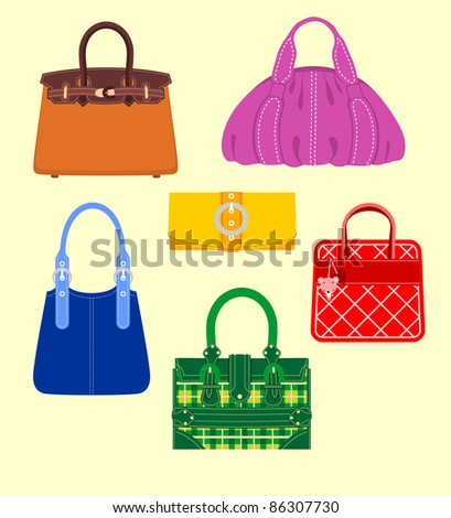 Collection of handbags - stock vector