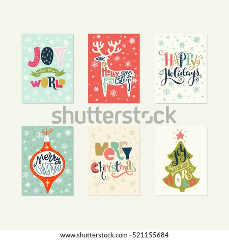 Collection of handdrawn Christmas card templates. Hand lettering with Christmas saying, quote and greeting. New Year gift tags made in vector.