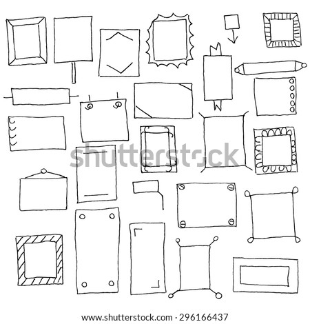 Collection of handdrawn frames in vector. Design elements.