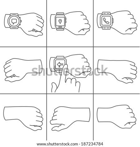 Collection of hands for smartwatch illustrations - stock vector