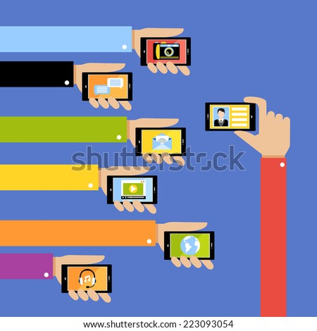 Collection of hands using mobile phone with business apps and social media content isolated vector illustration - stock vector