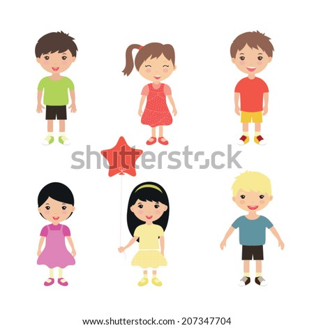 Collection of happy children in different positions. Vector illustration