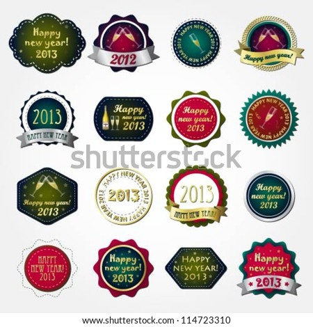 Collection of happy new year labels - stock vector