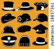 collection of hat - stock vector