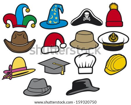 collection of hats (jester hat, bucket hat, lady's hat, cowboy hat, fedora hat, santa claus hat, construction workers hard hat, military officer's cap, wizard hat, graduation cap, chef hat) - stock vector