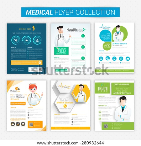 Collection of Health and Medical flyers and banners decorated with illustration of doctor. - stock vector