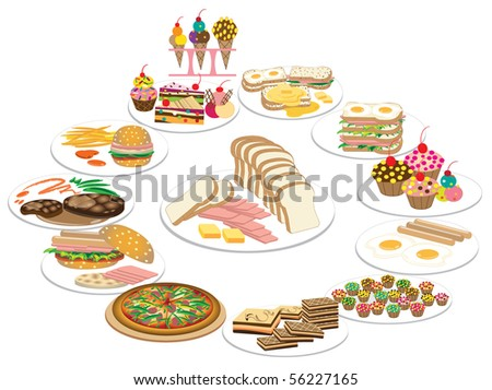 Collection of Healthy food and Hot Meat Dishes. Vector illustration - stock vector