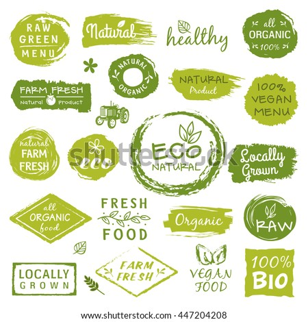 Collection of healthy organic food labels, logos for restaurants, vegan cafe, farm market and organic products packaging - stock vector