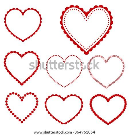 Collection of heart frames - vector - stock vector