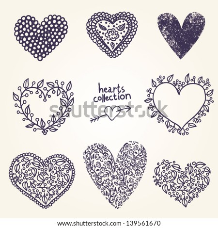 collection of hearts - stock vector