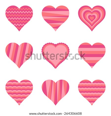 Collection of hearts, vector illustration - stock vector